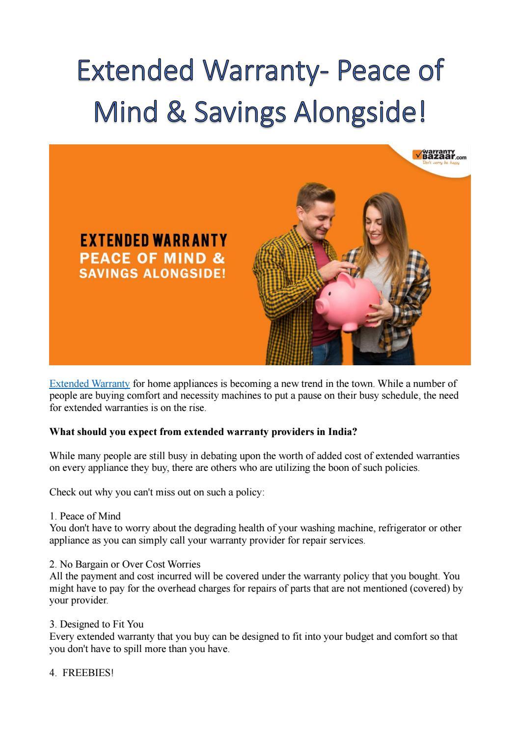 Warrantybazaar Extended Warranty Peace Of Mind Savings Alongside By Warranty Bazaar Issuu