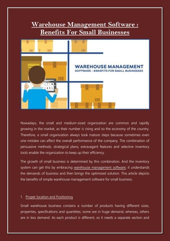 Warehouse Management Software - Benefits for Small Business