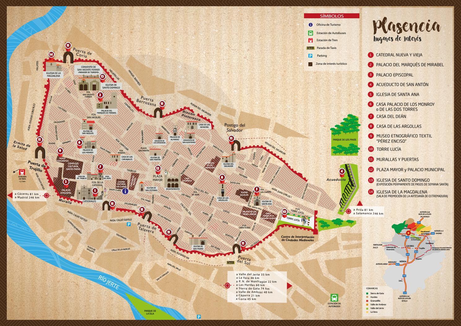 Mapa Turistico De Avila.Plano De Plasencia By Extremadura Turismo Issuu