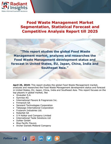 Food Waste Management Market Business Opportunities with Prominent