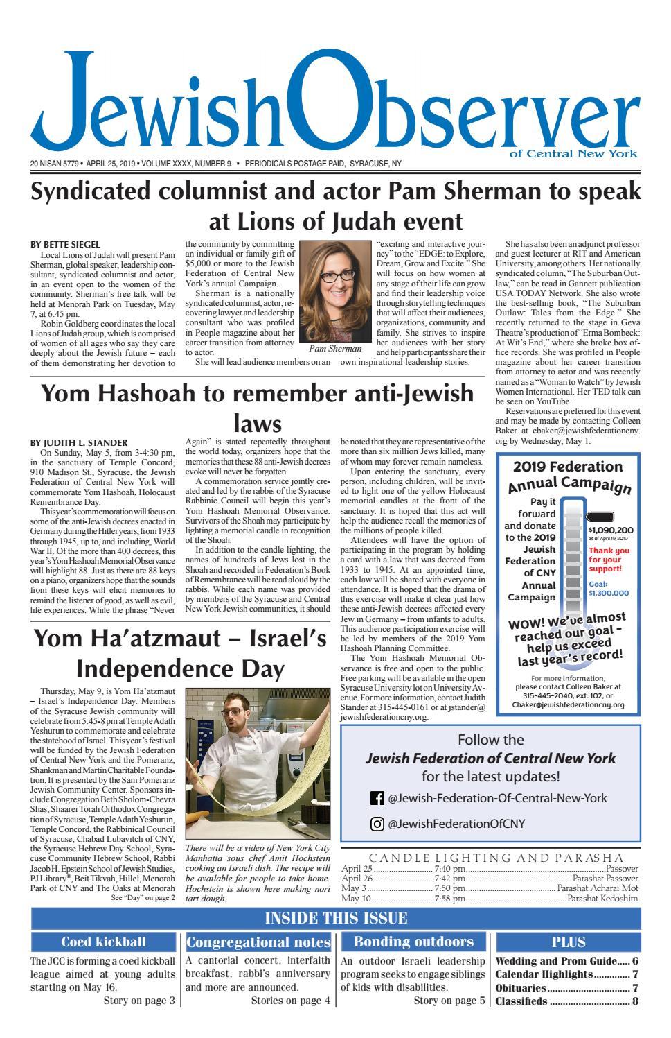 Jewish Observer Newspaper Issue of April 25, 2019 by Jewish