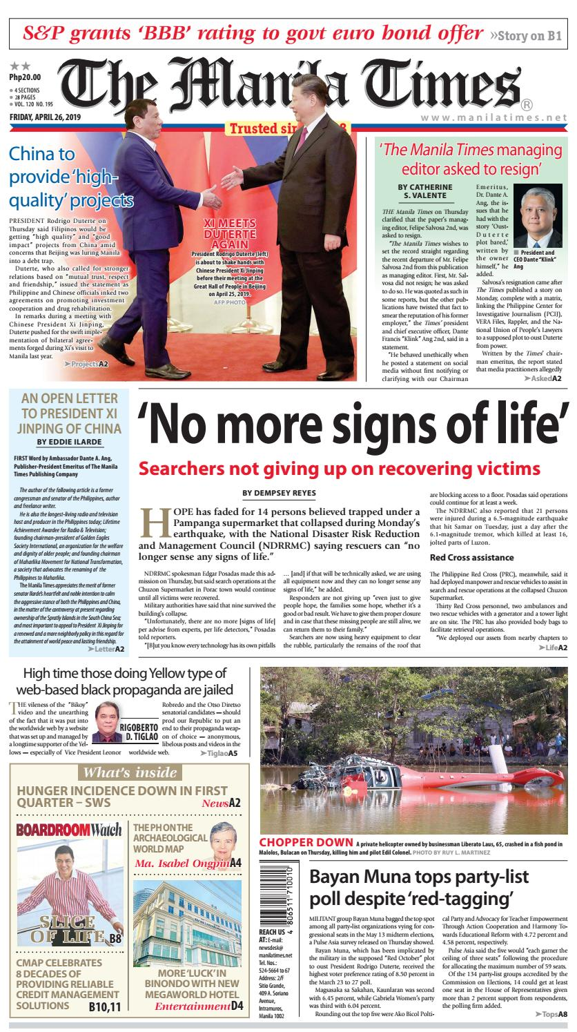 THE MANILA TIMES   APRIL 26, 2019 by The Manila Times - issuu
