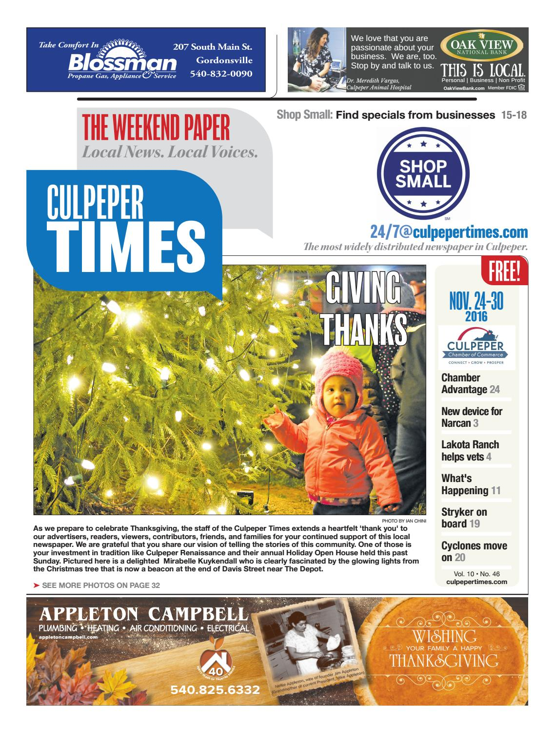 6e8283dcafc882 November 24th, 2016 -- Culpeper Times by InsideNoVa - issuu
