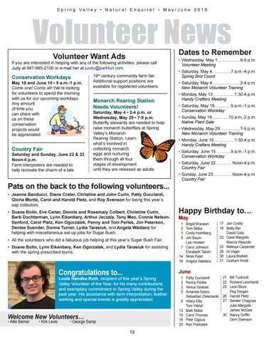 Page 13 of Volunteer Information