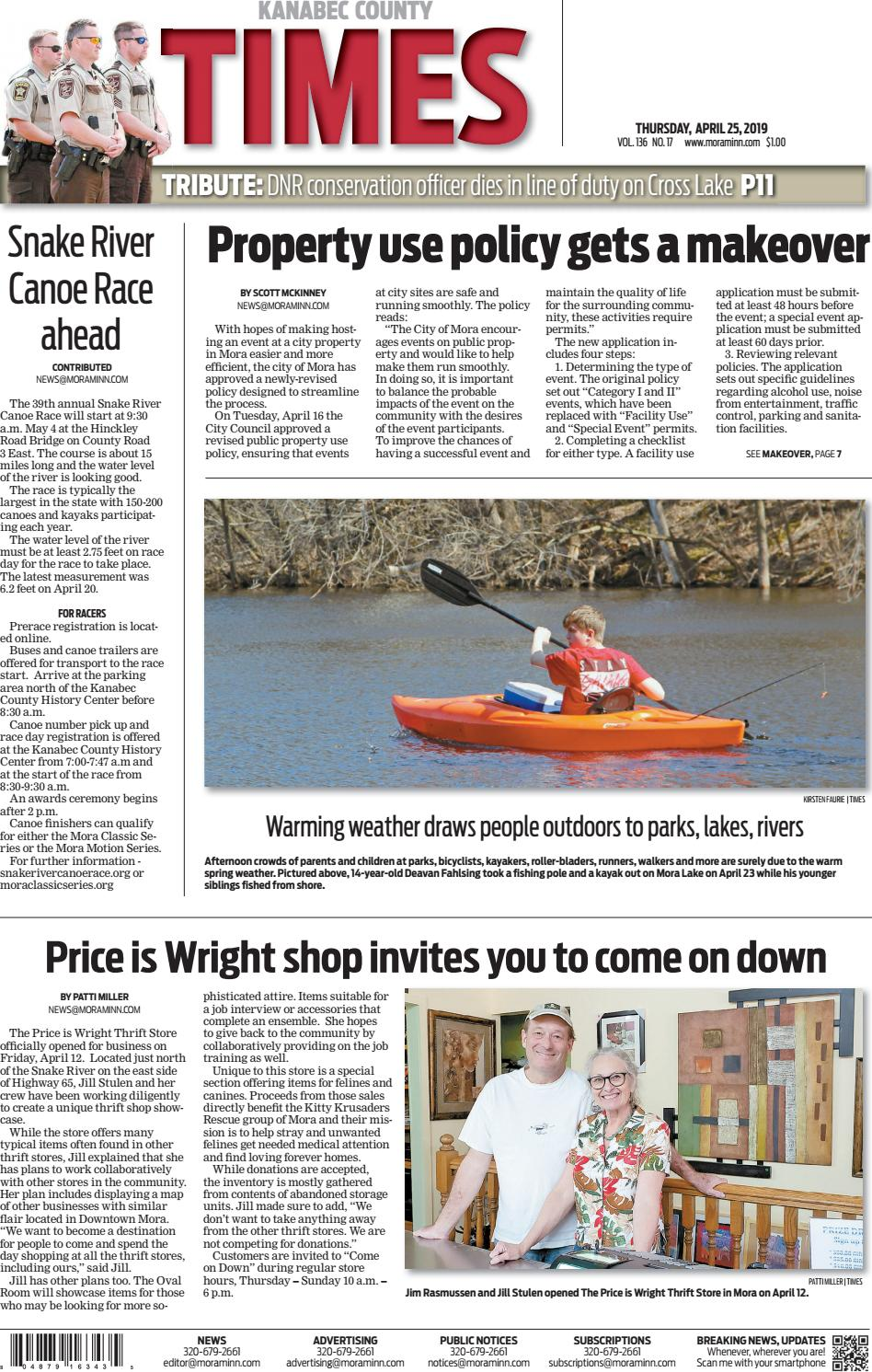 Kanabec County Times e-edition April 25, 2019