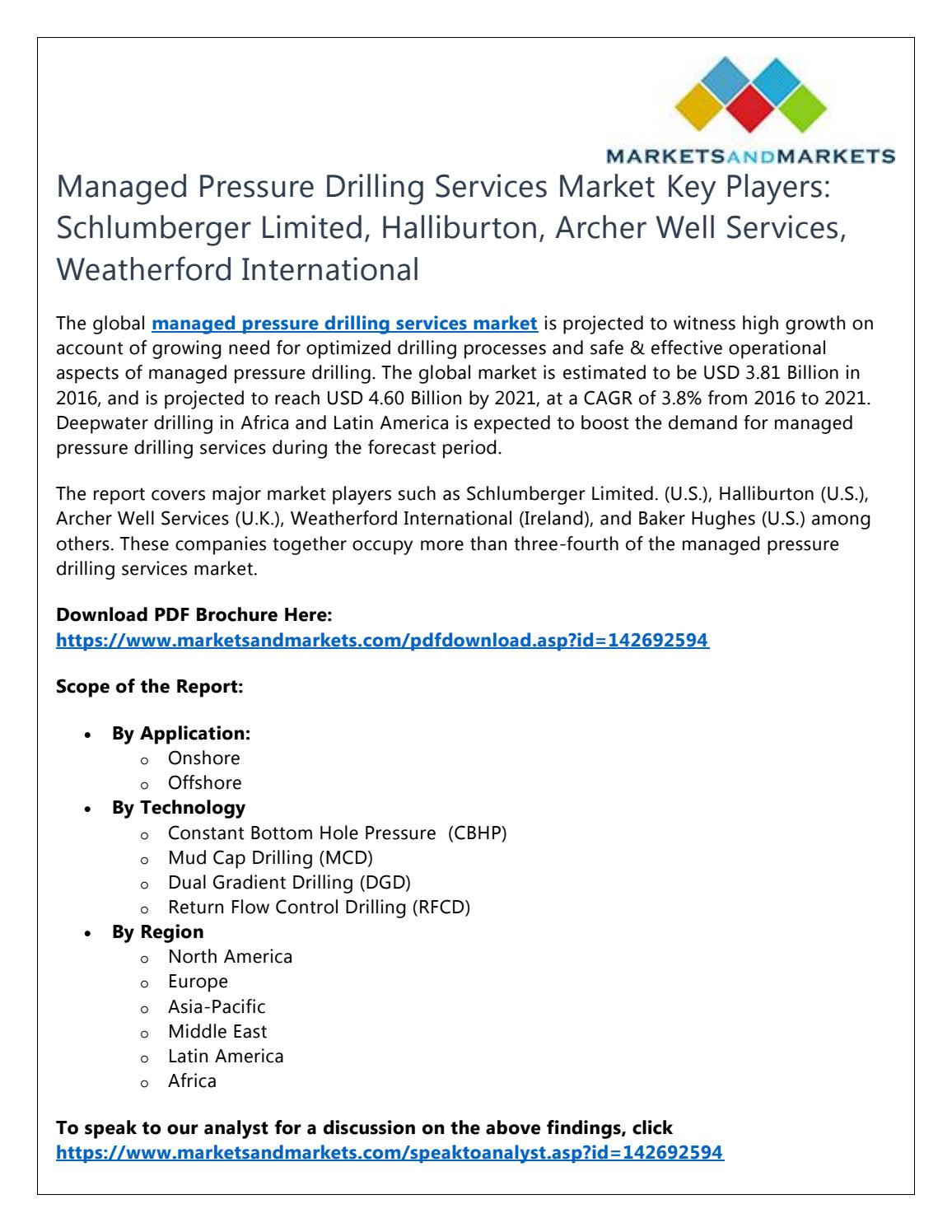 Managed Pressure Drilling Services Market Key Players: Schlumberger