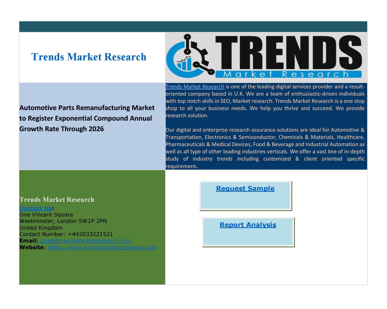Global Automotive Parts Remanufacturing Market to Witness Stellar