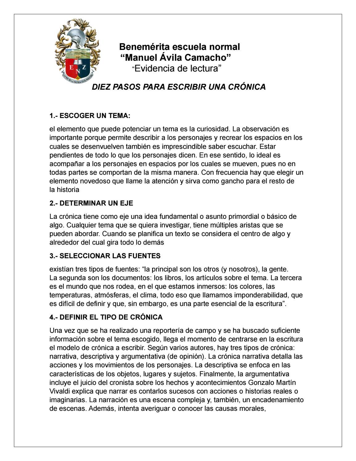 Pasos Para Escribir Una Crónica Evidencia By Heydi