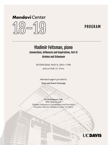 Vladimir Feltsman Piano Program By Robert And Margrit