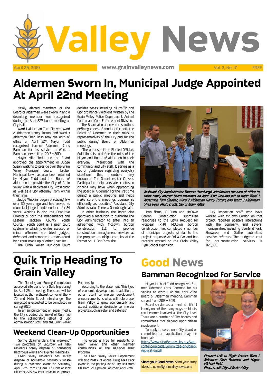 Valley News: April 25, 2019 by grainvalleynews - issuu
