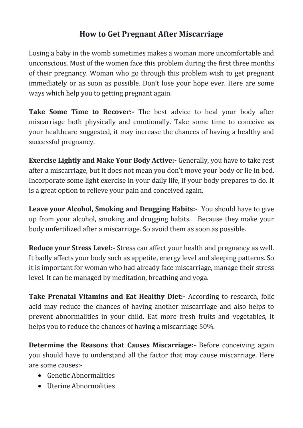 How to Get Pregnant After Miscarriage by Miracle Inside - issuu