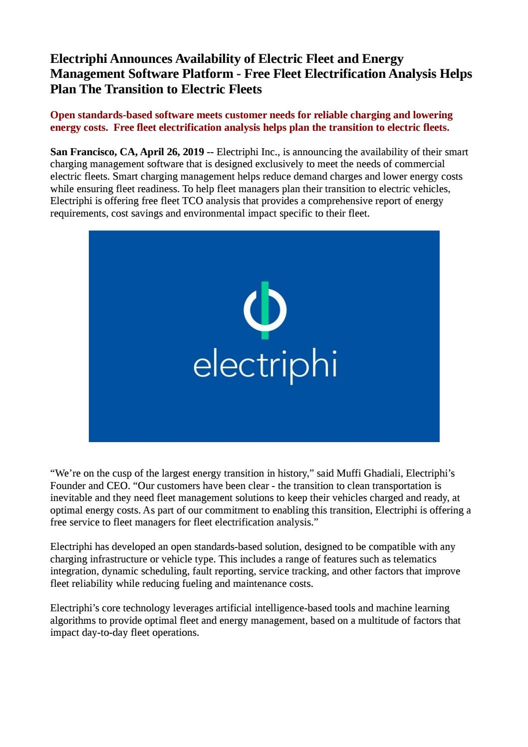 Electriphi Announces Availability of Electric Fleet and