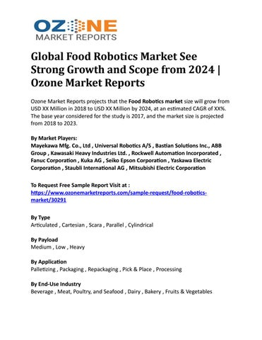 Global Food Robotics Market See Strong Growth and Scope from
