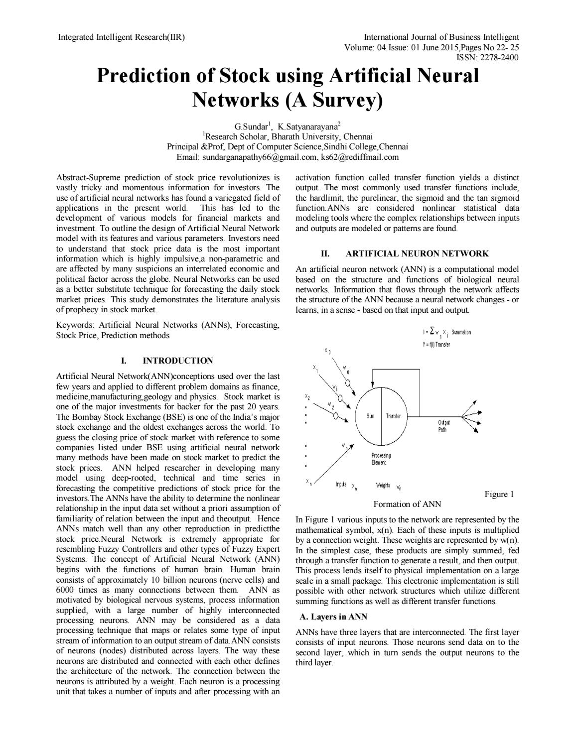 Prediction of Stock using Artificial Neural Networks (A