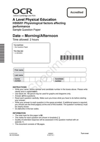 H555-01 Physiological Factors Affecting Performance Sample