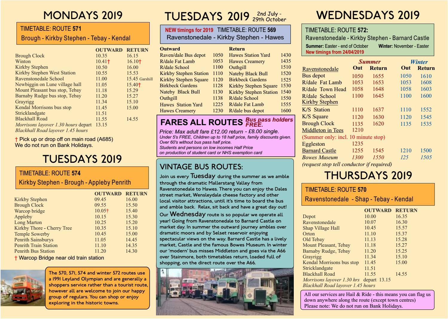 Cumbria Classic Coaches - 2019 Heritage Routes Timetable by