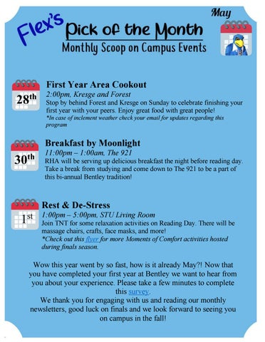 Flex's Pick of the Month | Monthly Scoop on Campus Events