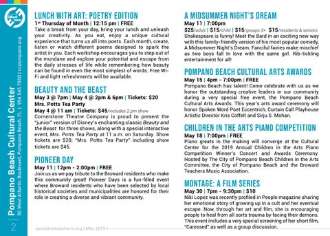 Page 2 of Happenings at the Pompano Beach Cultural Center