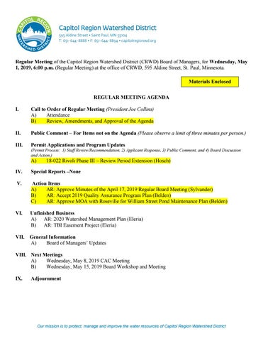 May 1, 2019 Board Packet by Capitol Region Watershed