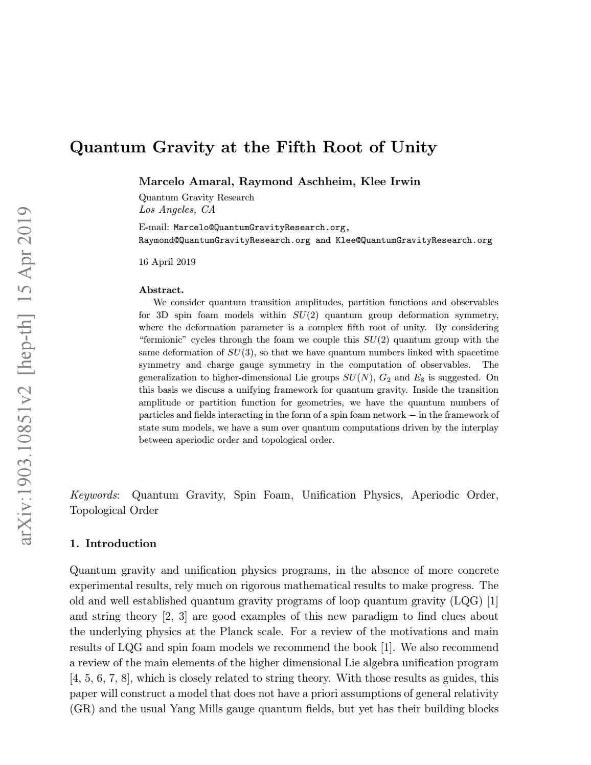 Quantum Gravity at the Fifth Root of Unity by Klee Irwin - issuu