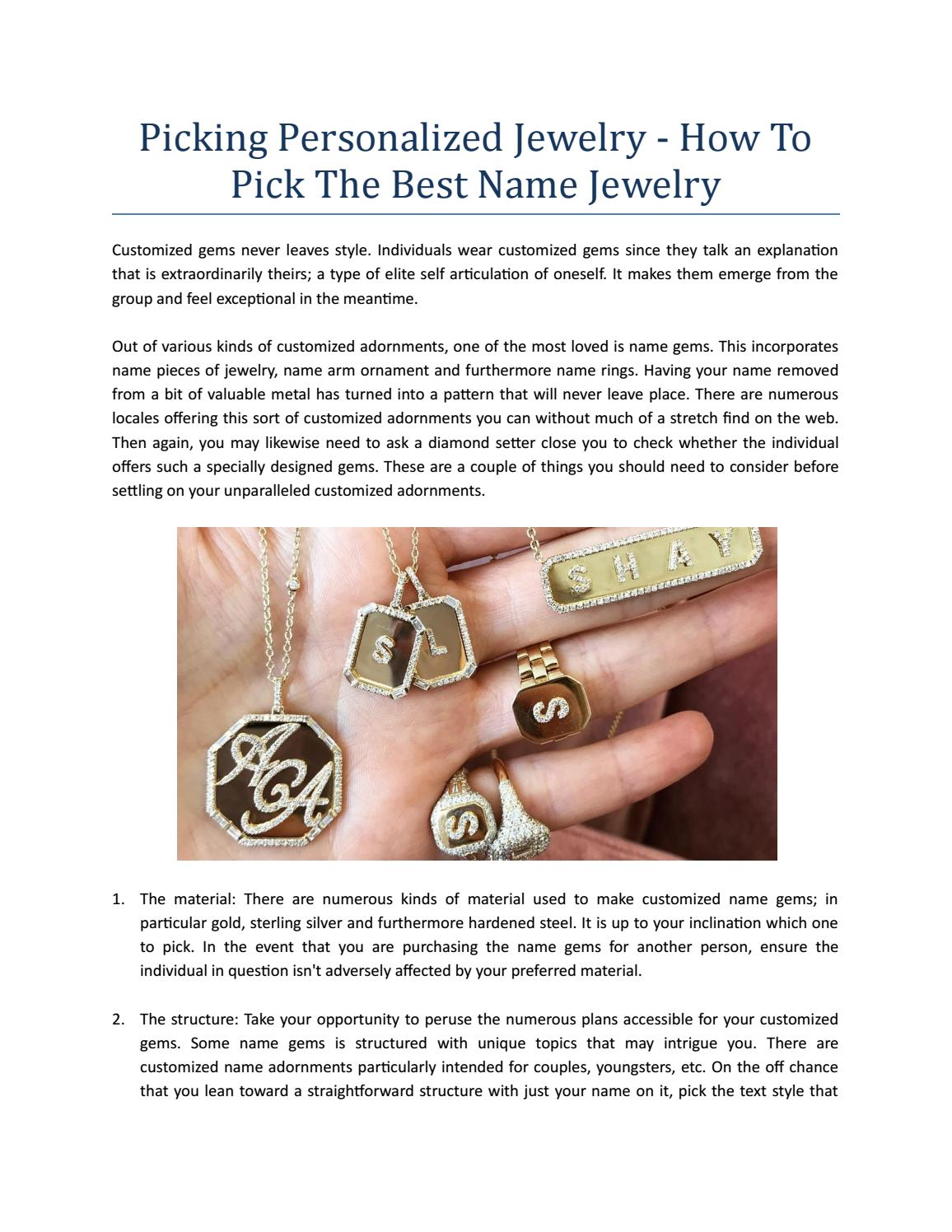 Picking Personalized Jewelry - How To Pick The Best Name