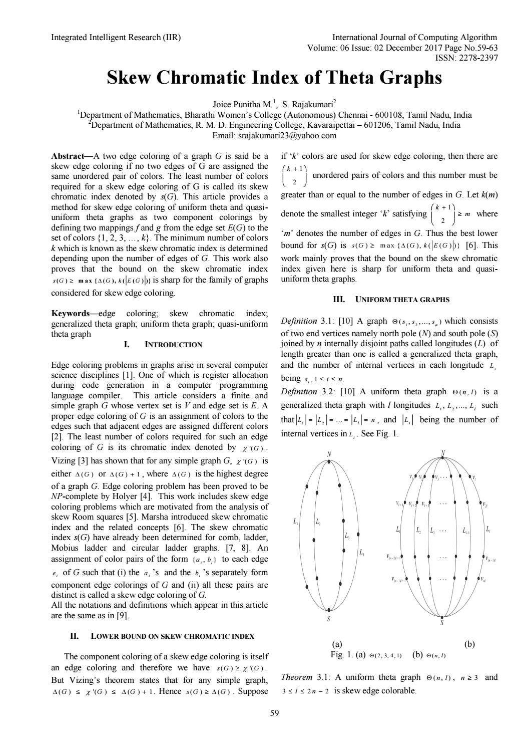 Skew Chromatic Index Of Theta Graphs By Ijcoaeditoriir Issuu