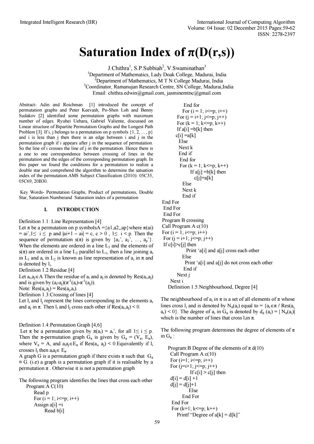 Saturation Index of π(D(r,s)) by ijcoaeditoriir - issuu