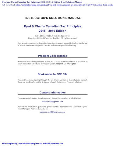 Byrd And Chens Canadian Tax Principles 2018 2019 1st Edition Byrd Solutions Manual By Sivir Issuu