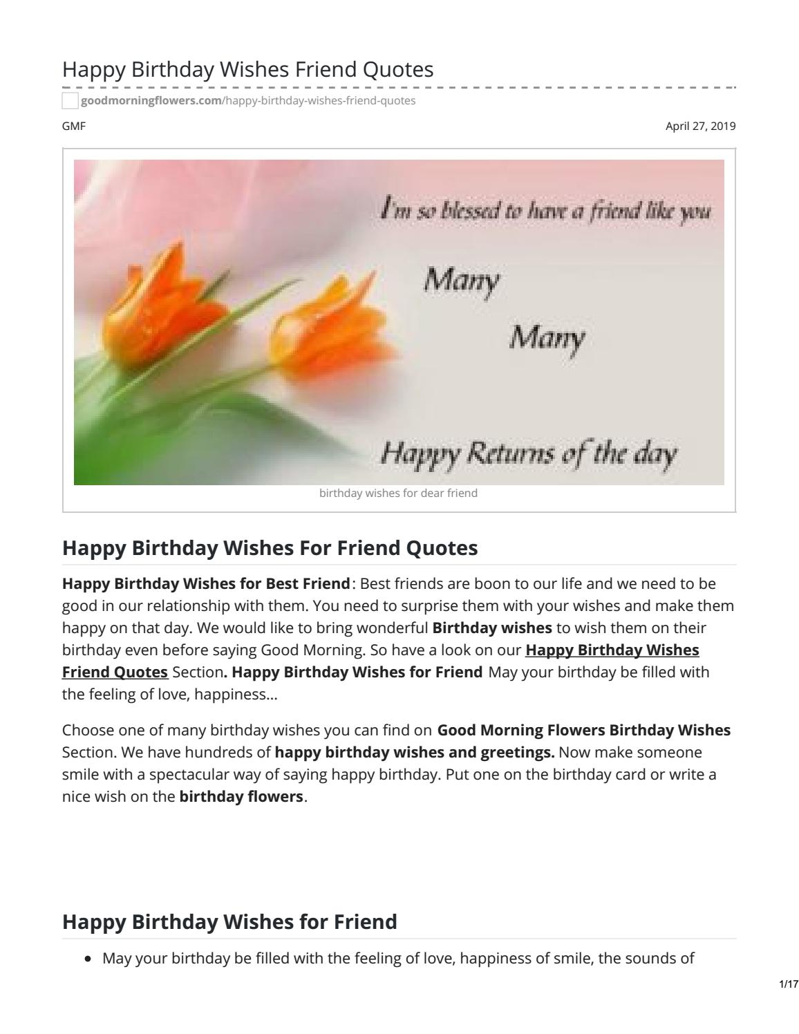 Outstanding Happy Birthday Wishes Friend Quotes By Answermeangel99 Issuu Personalised Birthday Cards Petedlily Jamesorg