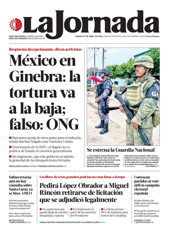 La Jornada, 04/27/2019 by La Jornada - issuu