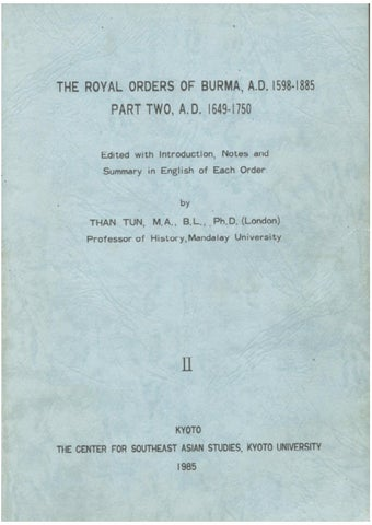 2-The Royal Orders of Burma_ A D  1598-1885_ Part Two (A D 1649-1750
