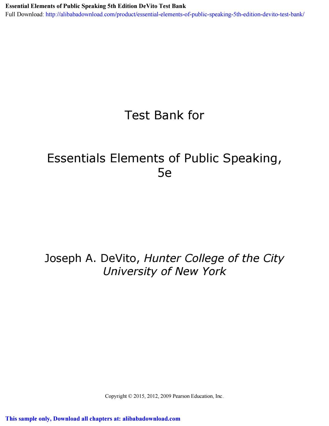 Essential Elements of Public Speaking 5th Edition DeVito ...