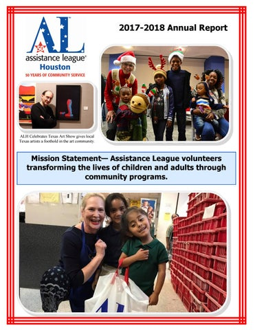 Assistance League Of Houston Annual Report 2017 2018 By Assistanceleagueofhouston Issuu