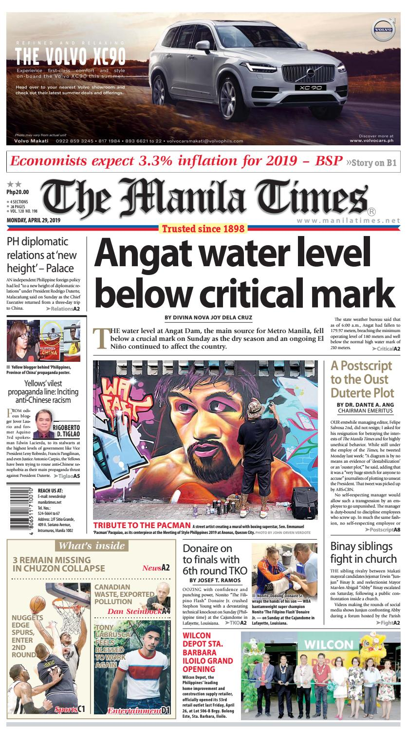 THE MANILA TIMES | APRIL 29, 2019 by The Manila Times - issuu