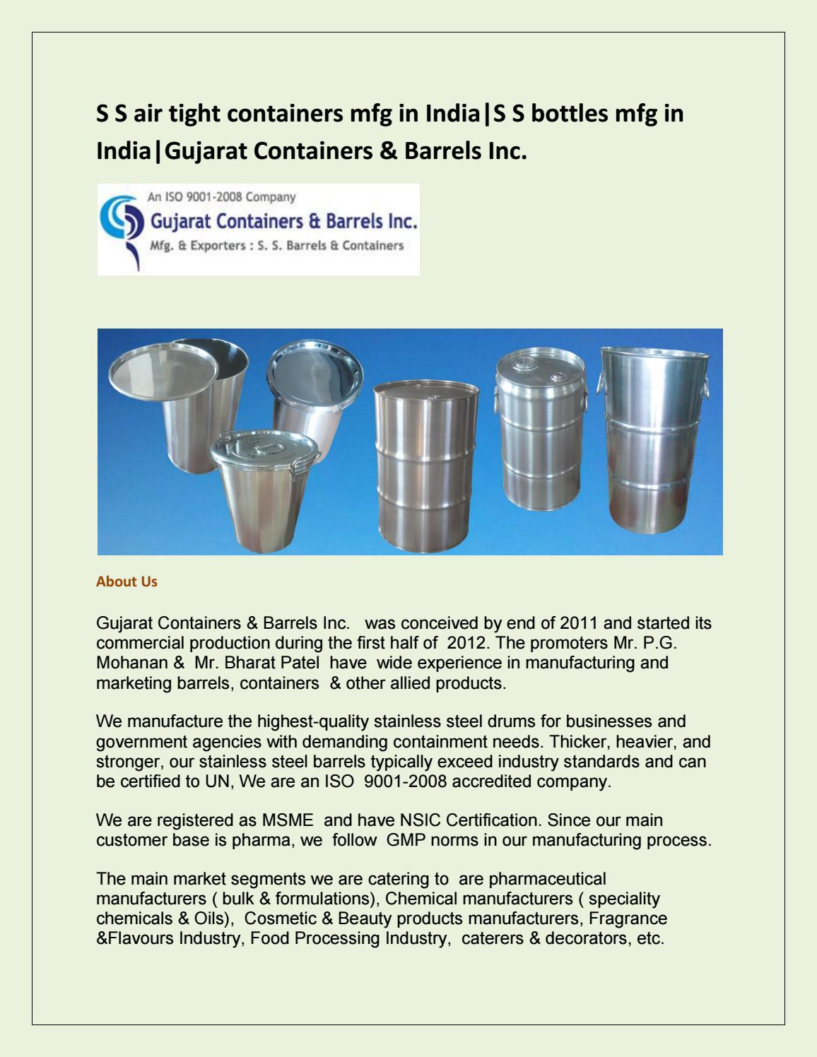 S S air tight containers mfg in India|S S bottels mfg in