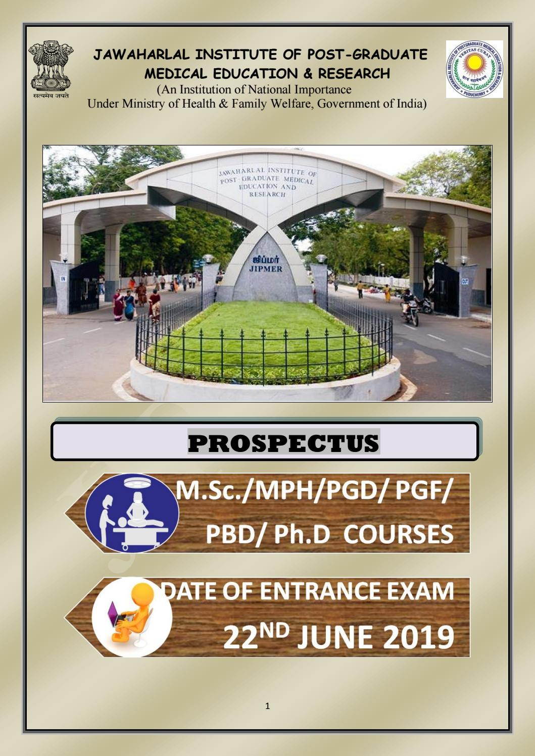 JIPMER MSc/PhD Entrance Exam 2019 - Official Notification by