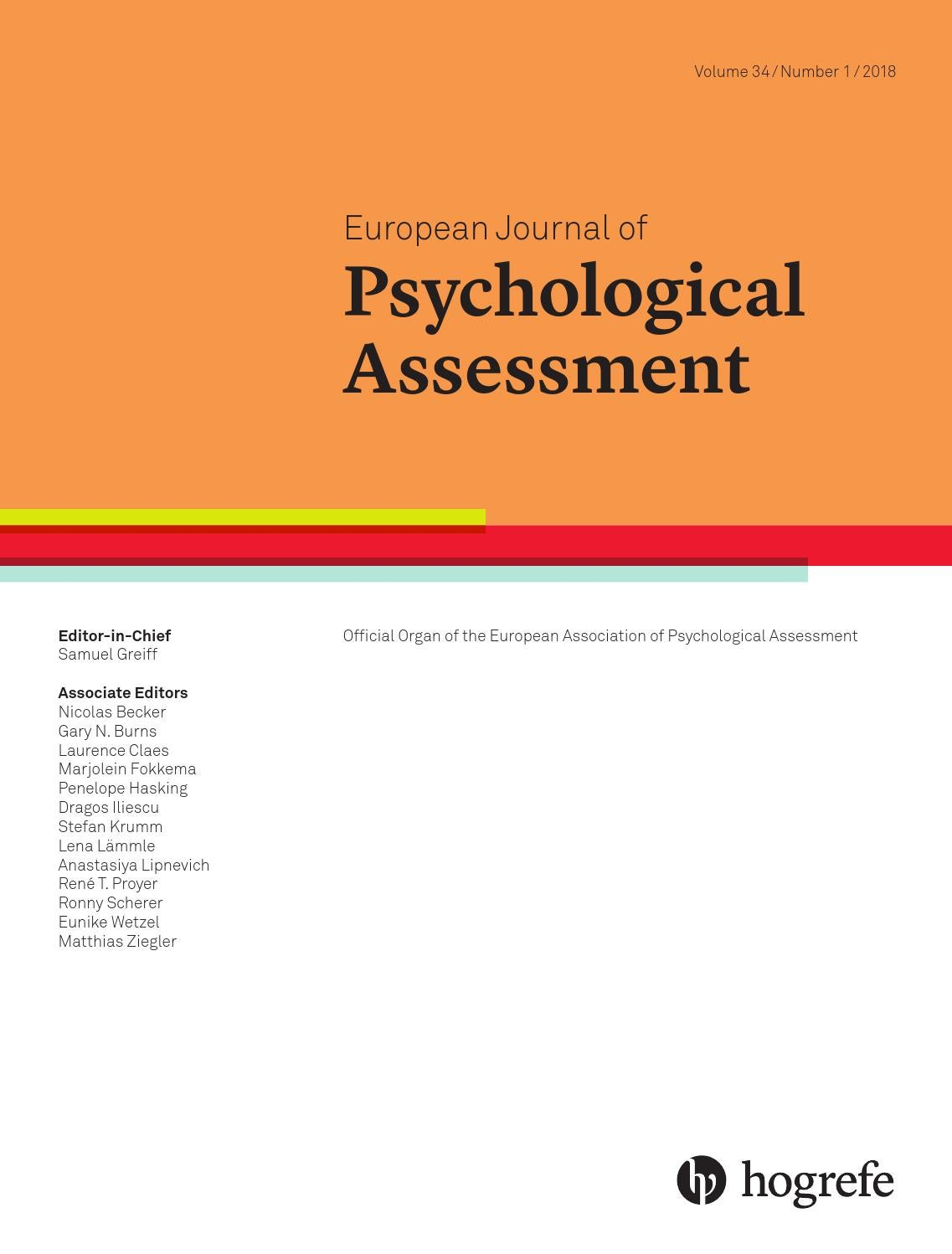 European Journal Of Psychological Assessment 1 2018 By