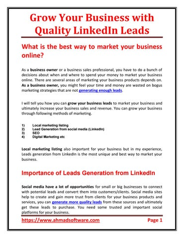 Grow Your Business with Quality LinkedIn Leads by Ahmad