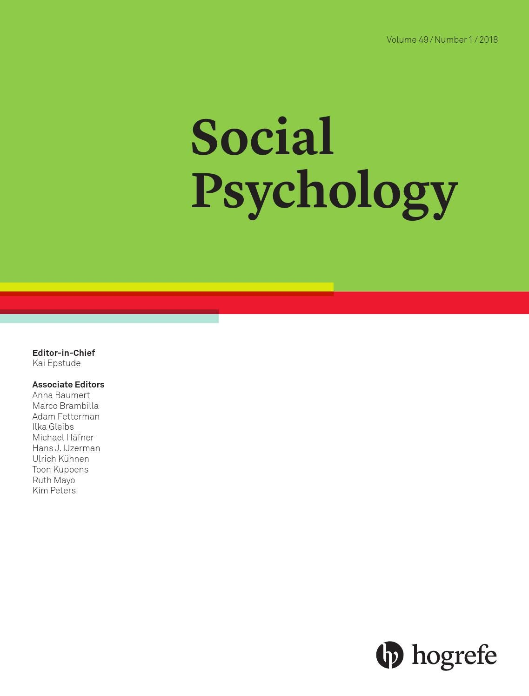 Social Psychology 1/2018 by Hogrefe - issuu