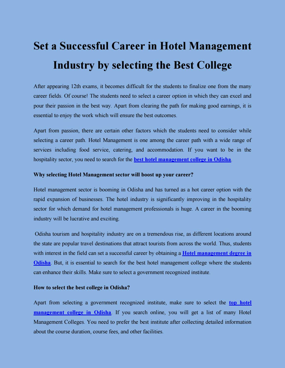 Top hotel Management College in Odisha by driemsgroup