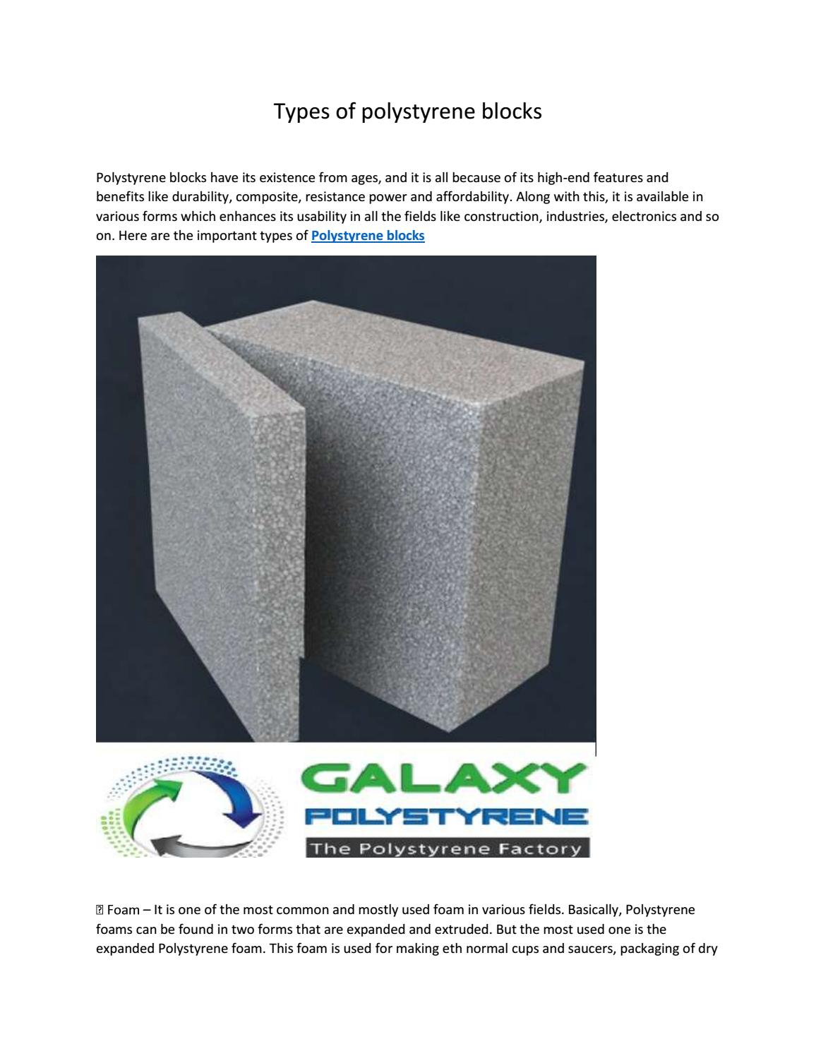Types of polystyrene blocks by galaxy polystryne - issuu