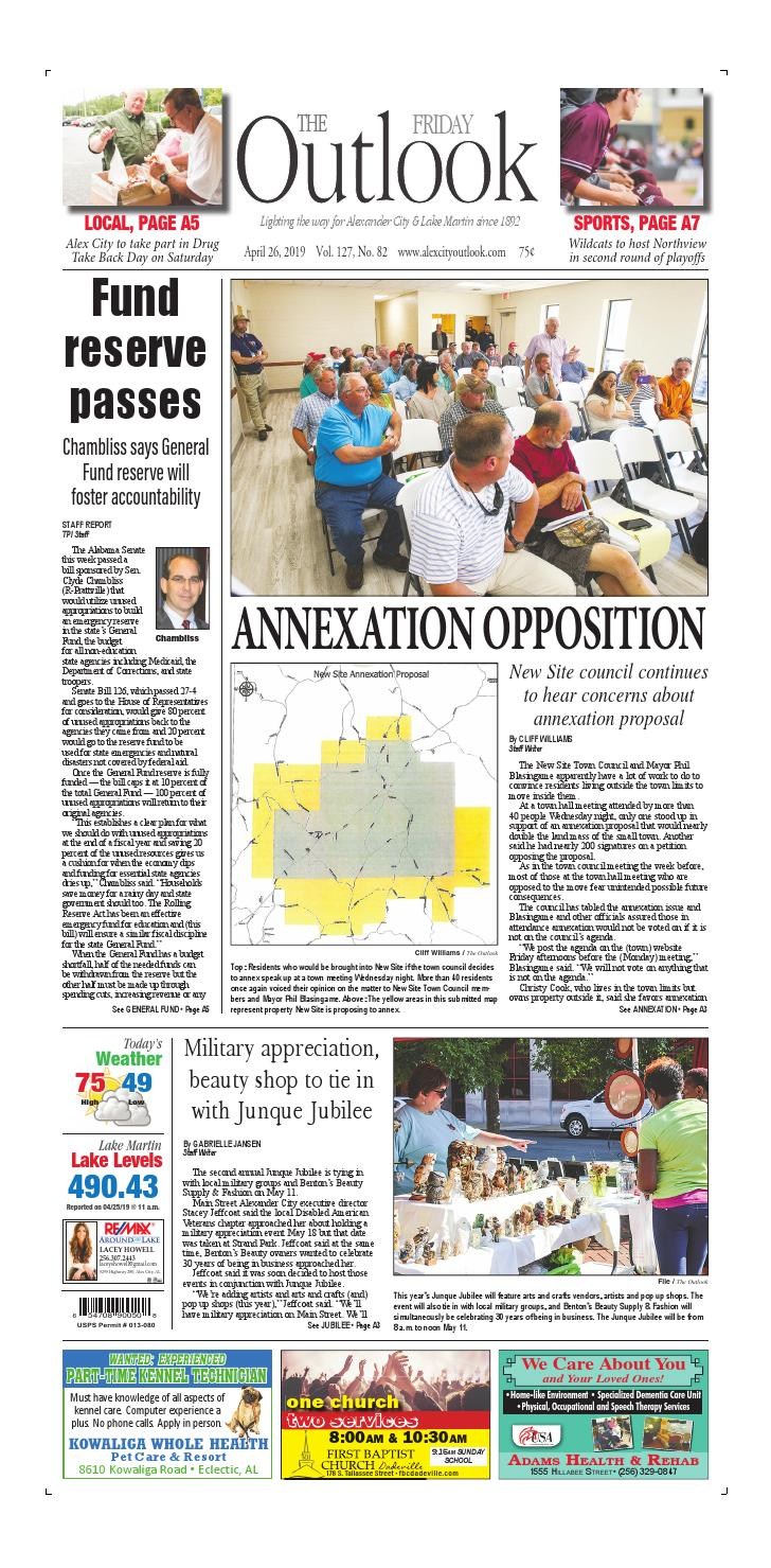 April 26, 2019 Alex City Outlook by Tallapoosa Publishers