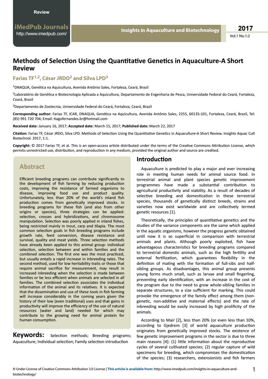 Methods of selection Using the quantitative genetics in