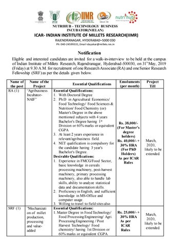 Govt Food Technology Research Jobs @ ICAR - Indian Institute