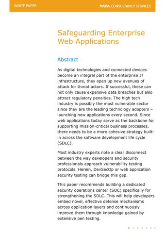 Strengthening A Secure Software Development Life Cycle - TCS