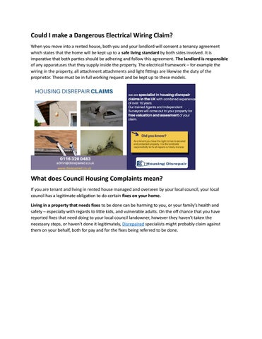 defective or dangerous electrical wiring by housing disrepair - issuu  issuu