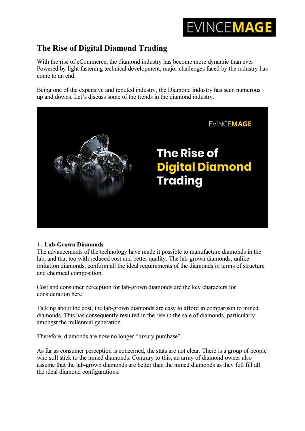 The Rise of Digital Diamond Trading by Evince Development