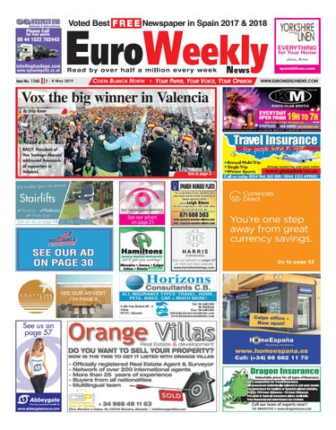 Euro Weekly News - Costa Blanca North 2 - 8 May 2019 Issue 1765 by