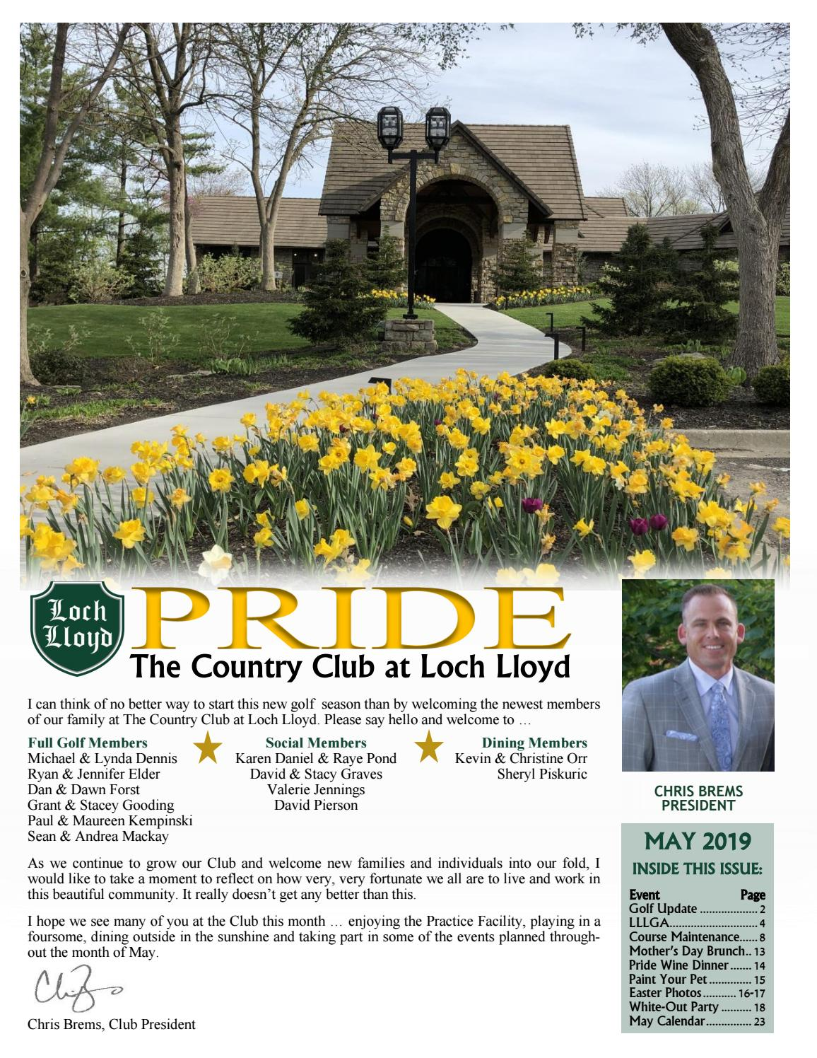 May 2019 Newsletter for The Country Club at Loch Lloyd by