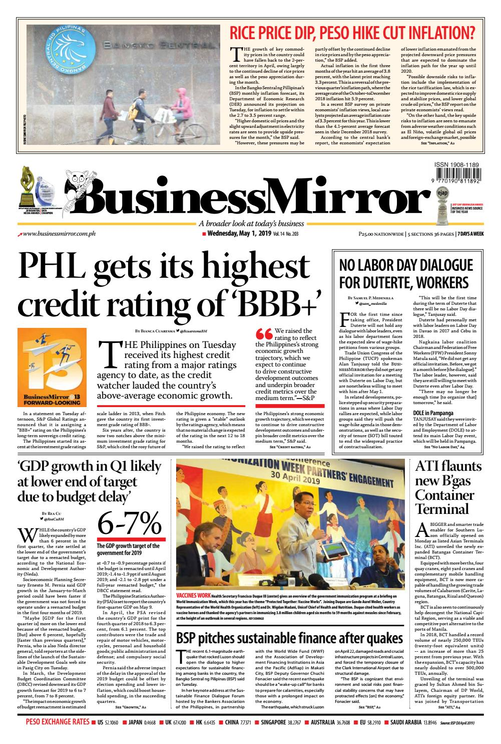 BusinessMirror May 01, 2019 by BusinessMirror - issuu